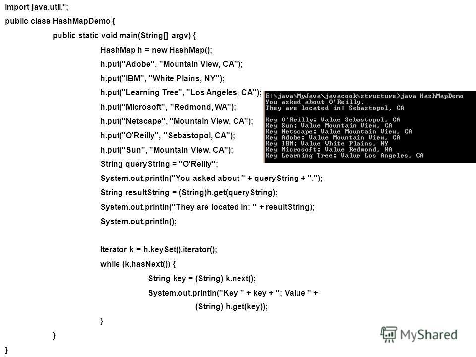 import java.util.*; public class HashMapDemo { public static void main(String[] argv) { HashMap h = new HashMap(); h.put(