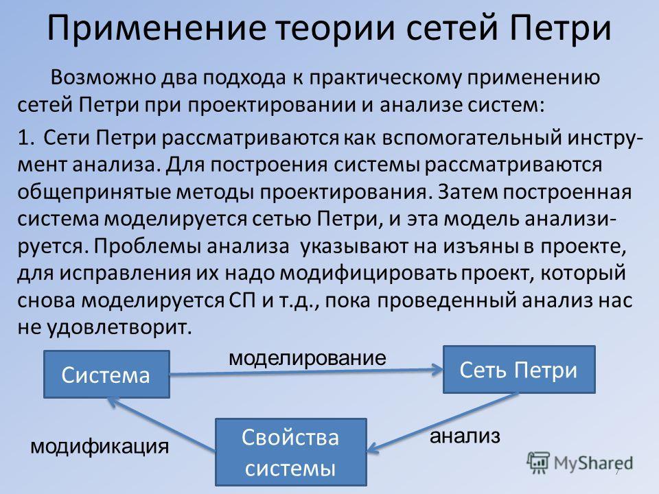 Применение теории сетей Петри Возможно два подхода к практическому применению сетей Петри при проектировании и анализе систем: 1.Сети Петри рассматриваются как вспомогательный инстру- мент анализа. Для построения системы рассматриваются общепринятые