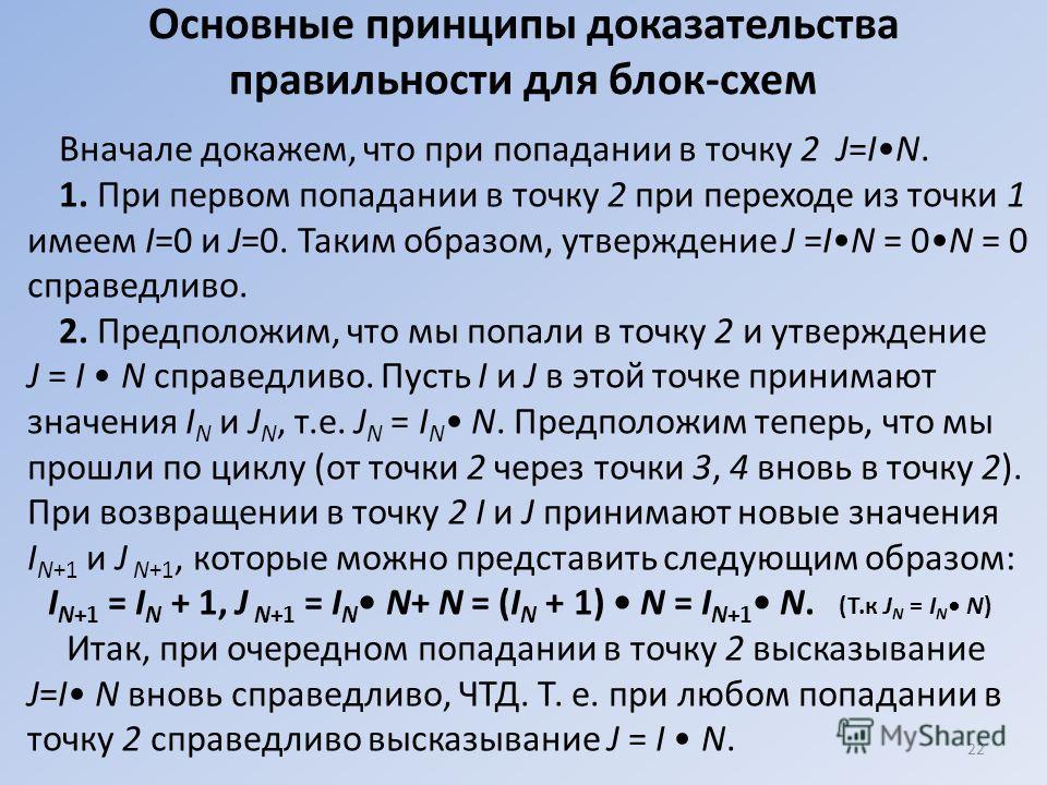Основные принципы доказательства правильности для блок-схем Вначале докажем, что при попадании в точку 2 J=IN. 1. При первом попадании в точку 2 при переходе из точки 1 имеем I=0 и J=0. Таким образом, утверждение J =IN = 0N = 0 справедливо. 2. Предпо