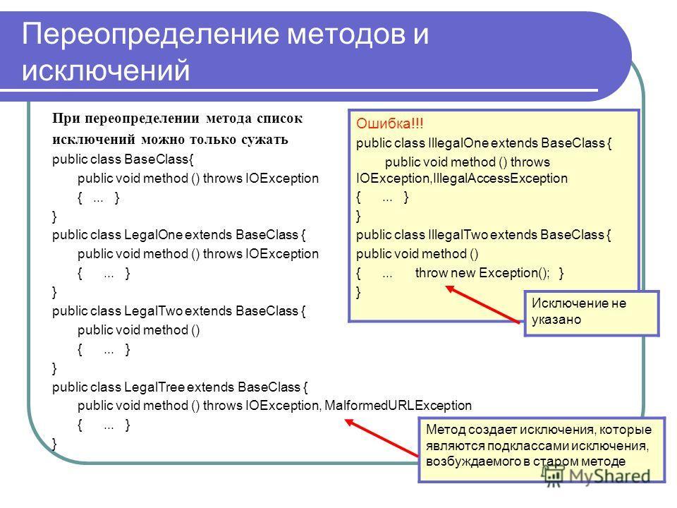 Переопределение методов и исключений При переопределении метода список исключений можно только сужать public class BaseClass{ public void method () throws IOException {... } } public class LegalOne extends BaseClass { public void method () throws IOE