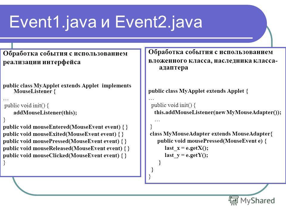 Event1.java и Event2.java Обработка события с использованием реализации интерфейса public class MyApplet extends Applet implements MouseListener { … public void init() { addMouseListener(this); } public void mouseEntered(MouseEvent event) { } public