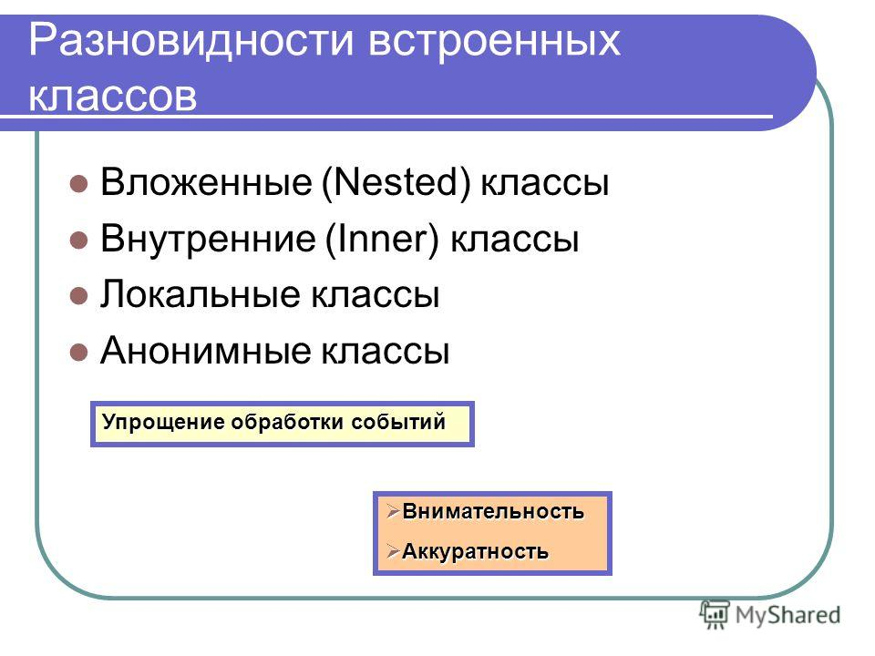 Разновидности встроенных классов Вложенные (Nested) классы Внутренние (Inner) классы Локальные классы Анонимные классы Упрощение обработки событий Внимательность Внимательность Аккуратность Аккуратность