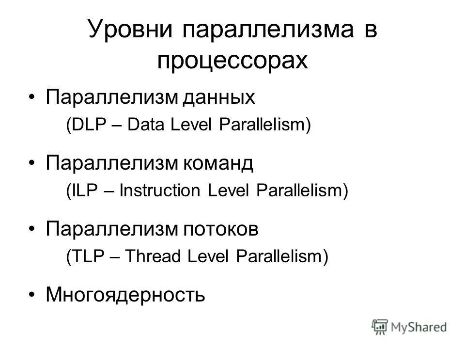 Уровни параллелизма в процессорах Параллелизм данных (DLP – Data Level Parallelism) Параллелизм команд (ILP – Instruction Level Parallelism) Параллелизм потоков (TLP – Thread Level Parallelism) Многоядерность