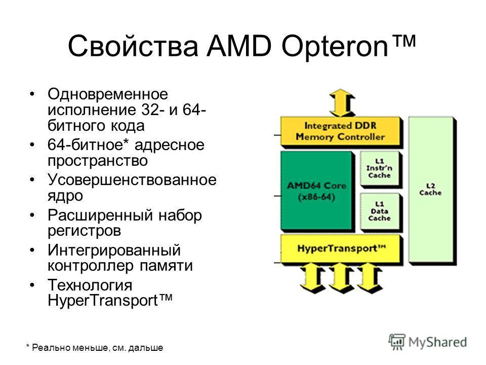 Свойства AMD Opteron Одновременное исполнение 32- и 64- битного кода 64-битное* адресное пространство Усовершенствованное ядро Расширенный набор регистров Интегрированный контроллер памяти Технология HyperTransport * Реально меньше, см. дальше