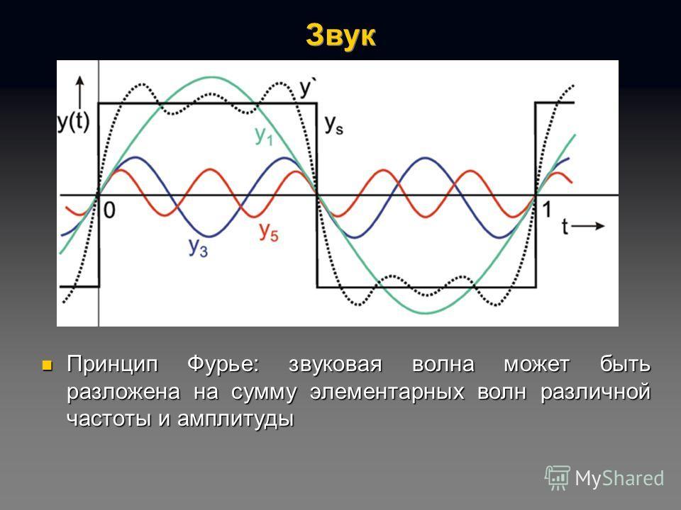 Звук Принцип Фурье: звуковая волна может быть разложена на сумму элементарных волн различной частоты и амплитуды Принцип Фурье: звуковая волна может быть разложена на сумму элементарных волн различной частоты и амплитуды