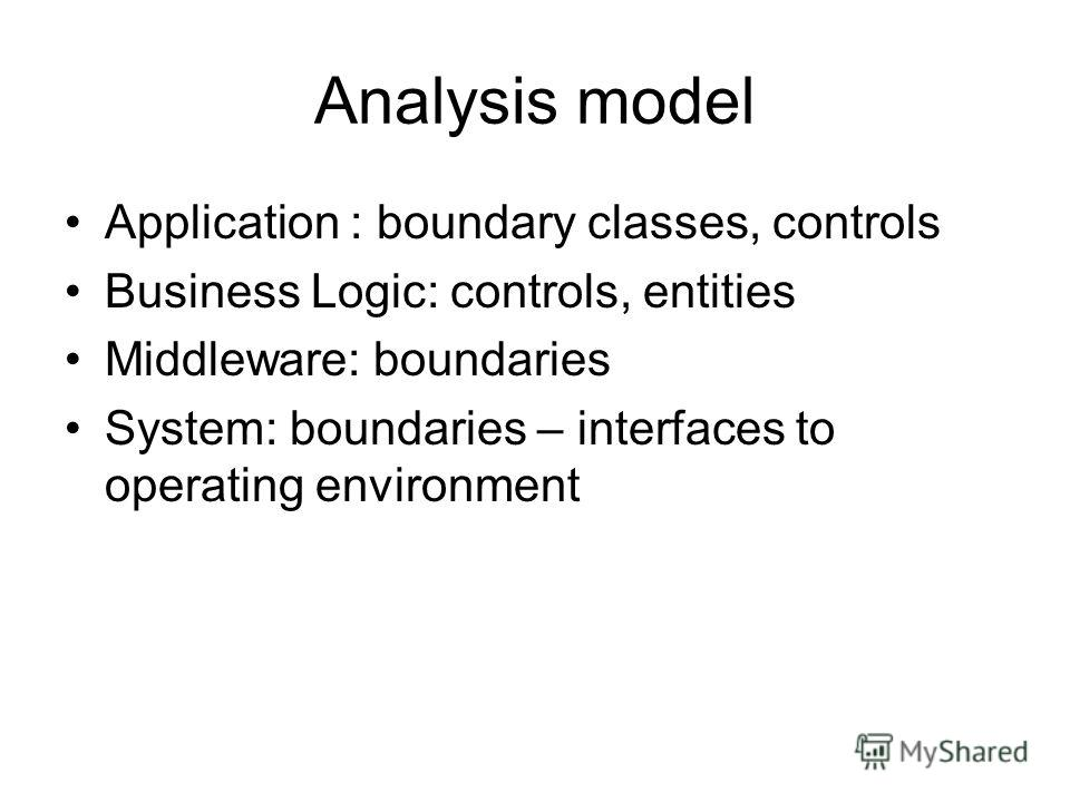 Analysis model Application : boundary classes, controls Business Logic: controls, entities Middleware: boundaries System: boundaries – interfaces to operating environment