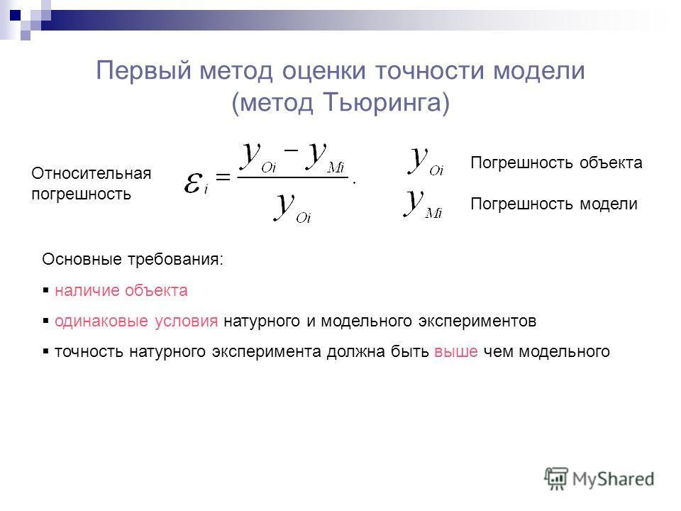 Первый метод оценки точности модели (метод Тьюринга) Относительная погрешность Погрешность объекта Погрешность модели Основные требования: наличие объекта одинаковые условия натурного и модельного экспериментов точность натурного эксперимента должна