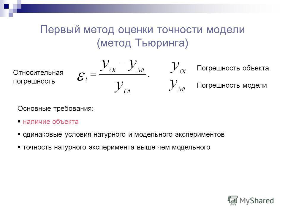 Первый метод оценки точности модели (метод Тьюринга) Относительная погрешность Погрешность объекта Погрешность модели Основные требования: наличие объекта одинаковые условия натурного и модельного экспериментов точность натурного эксперимента выше че