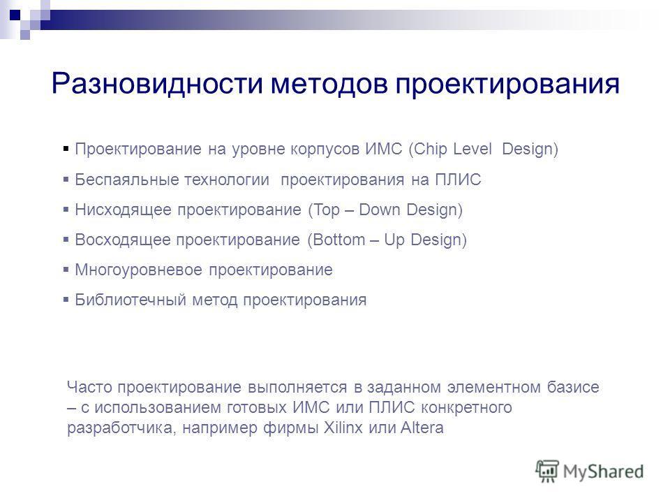Разновидности методов проектирования Проектирование на уровне корпусов ИМС (Chip Level Design) Беспаяльные технологии проектирования на ПЛИС Нисходящее проектирование (Top – Down Design) Восходящее проектирование (Bottom – Up Design) Многоуровневое п