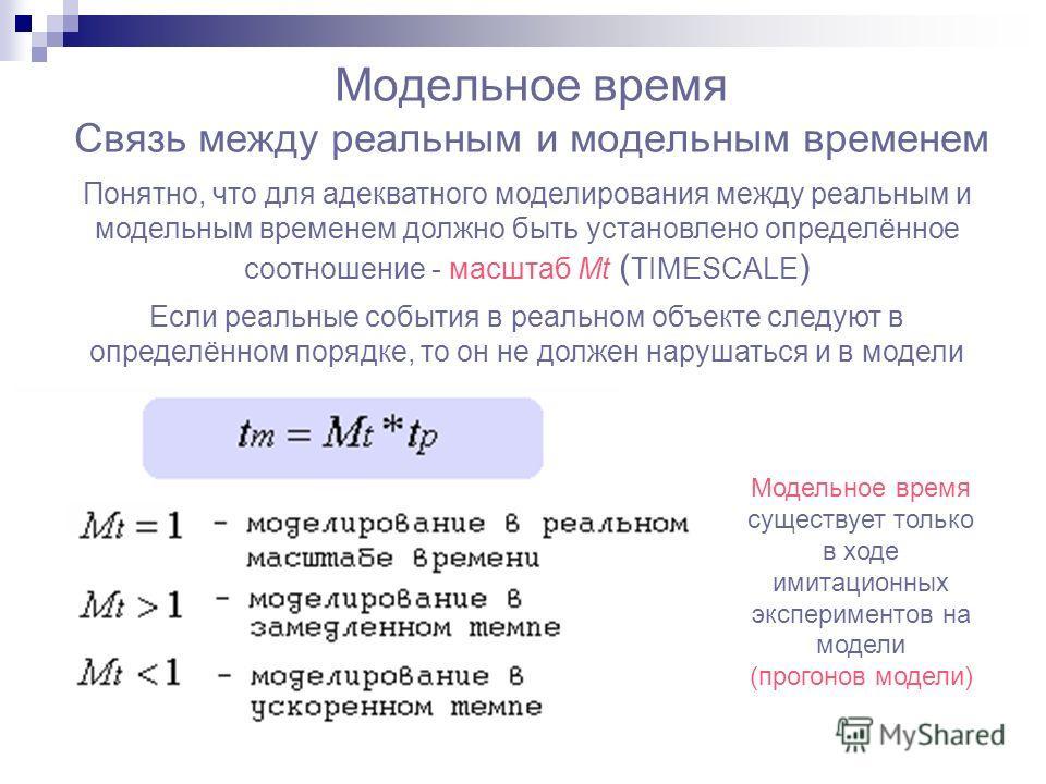 Модельное время Связь между реальным и модельным временем Понятно, что для адекватного моделирования между реальным и модельным временем должно быть установлено определённое соотношение - масштаб Mt ( TIMESCALE ) Если реальные события в реальном объе