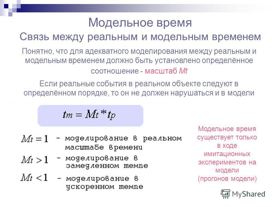 Модельное время Связь между реальным и модельным временем Понятно, что для адекватного моделирования между реальным и модельным временем должно быть установлено определённое соотношение - масштаб Mt Если реальные события в реальном объекте следуют в
