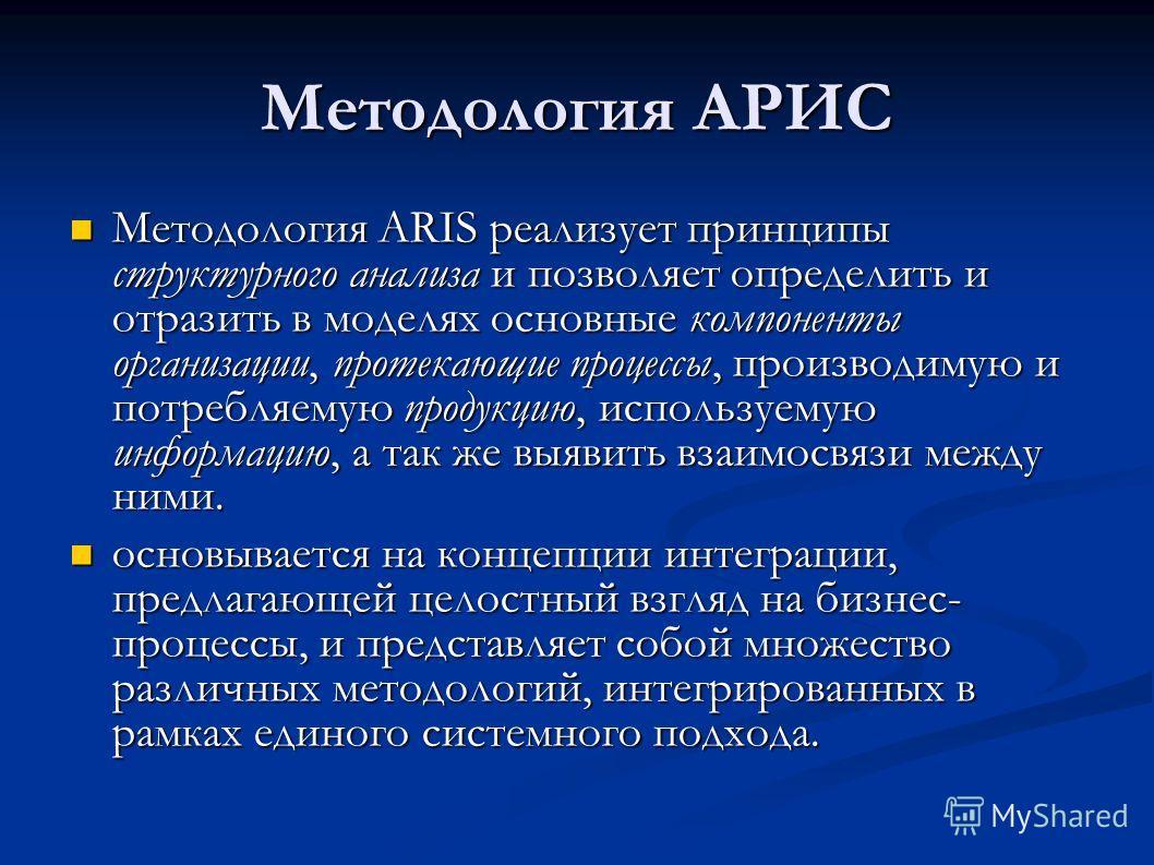 Методология АРИС Методология ARIS реализует принципы структурного анализа и позволяет определить и отразить в моделях основные компоненты организации, протекающие процессы, производимую и потребляемую продукцию, используемую информацию, а так же выяв