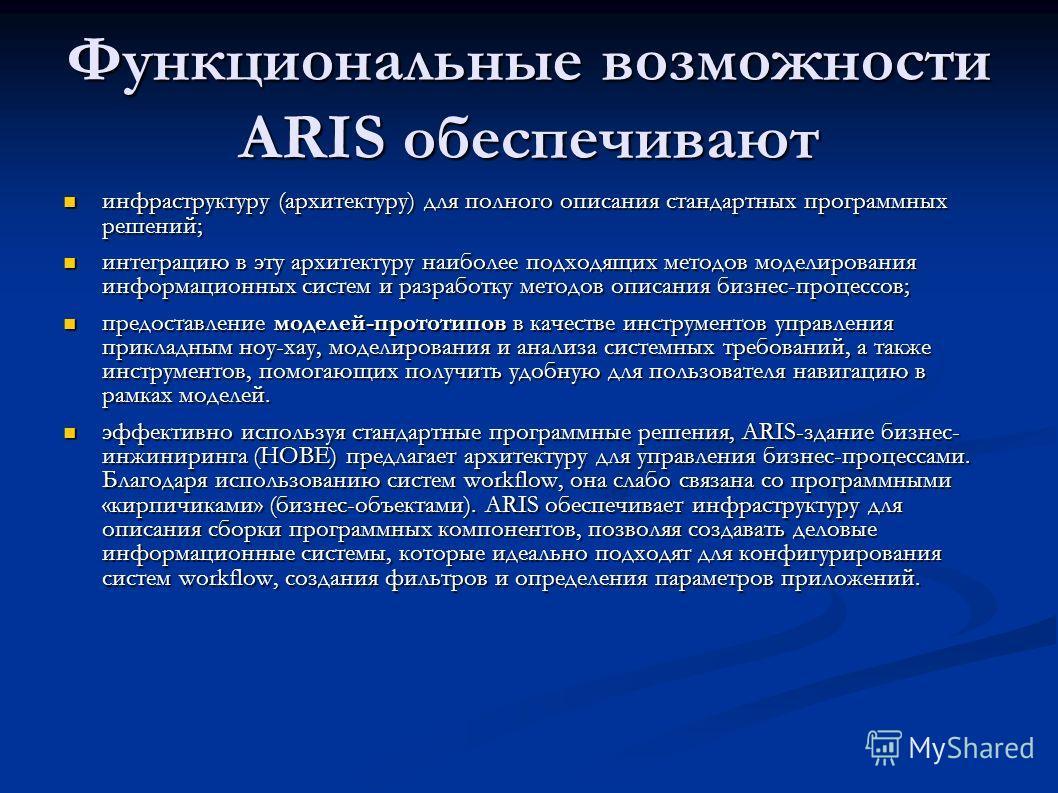 Функциональные возможности ARIS обеспечивают инфраструктуру (архитектуру) для полного описания стандартных программных решений; инфраструктуру (архитектуру) для полного описания стандартных программных решений; интеграцию в эту архитектуру наиболее п