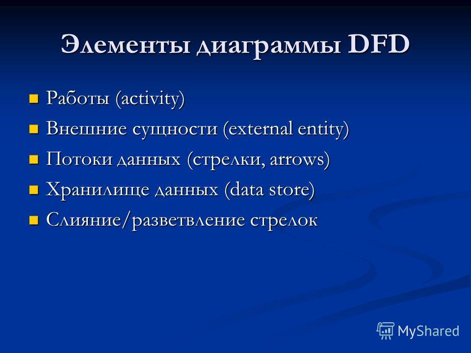 Элементы диаграммы DFD Работы (activity) Работы (activity) Внешние сущности (external entity) Внешние сущности (external entity) Потоки данных (стрелки, arrows) Потоки данных (стрелки, arrows) Хранилище данных (data store) Хранилище данных (data stor