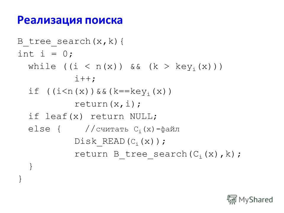 Реализация поиска B_tree_search(x,k){ int i = 0; while ((i key i (x))) i++; if ((i