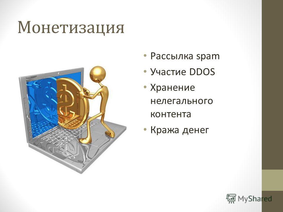 Монетизация Рассылка spam Участие DDOS Хранение нелегального контента Кража денег