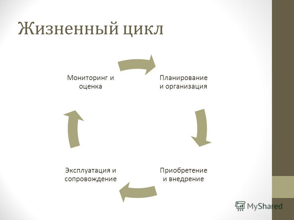 Жизненный цикл Планирование и организация Приобретение и внедрение Эксплуатация и сопровождение Мониторинг и оценка
