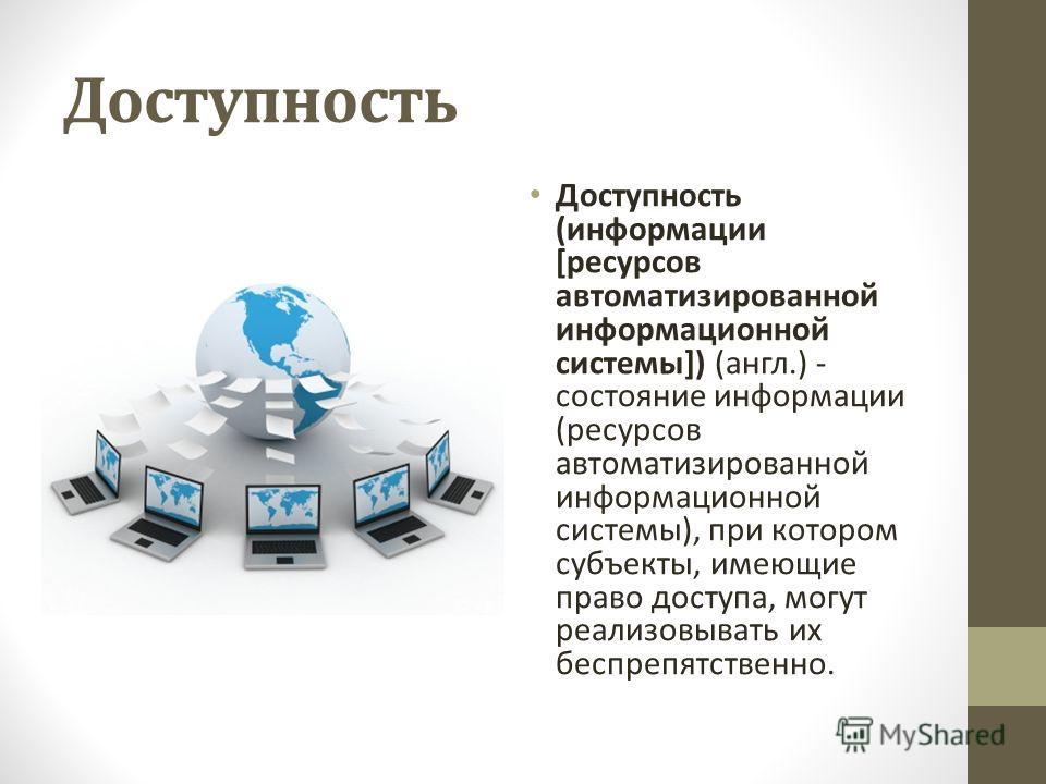 Доступность Доступность (информации [ресурсов автоматизированной информационной системы]) (англ.) - состояние информации (ресурсов автоматизированной информационной системы), при котором субъекты, имеющие право доступа, могут реализовывать их беспреп