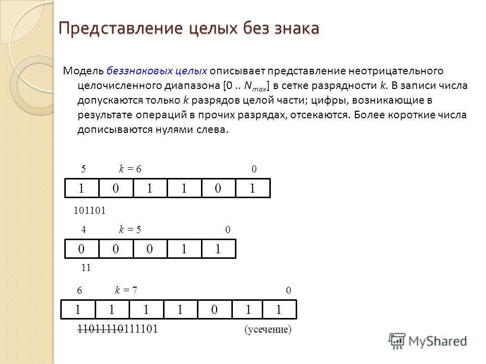 Представление целых без знака Модель беззнаковых целых описывает представление неотрицательного целочисленного диапазона [0.. N max ] в сетке разрядности k. В записи числа допускаются только k разрядов целой части; цифры, возникающие в результате опе