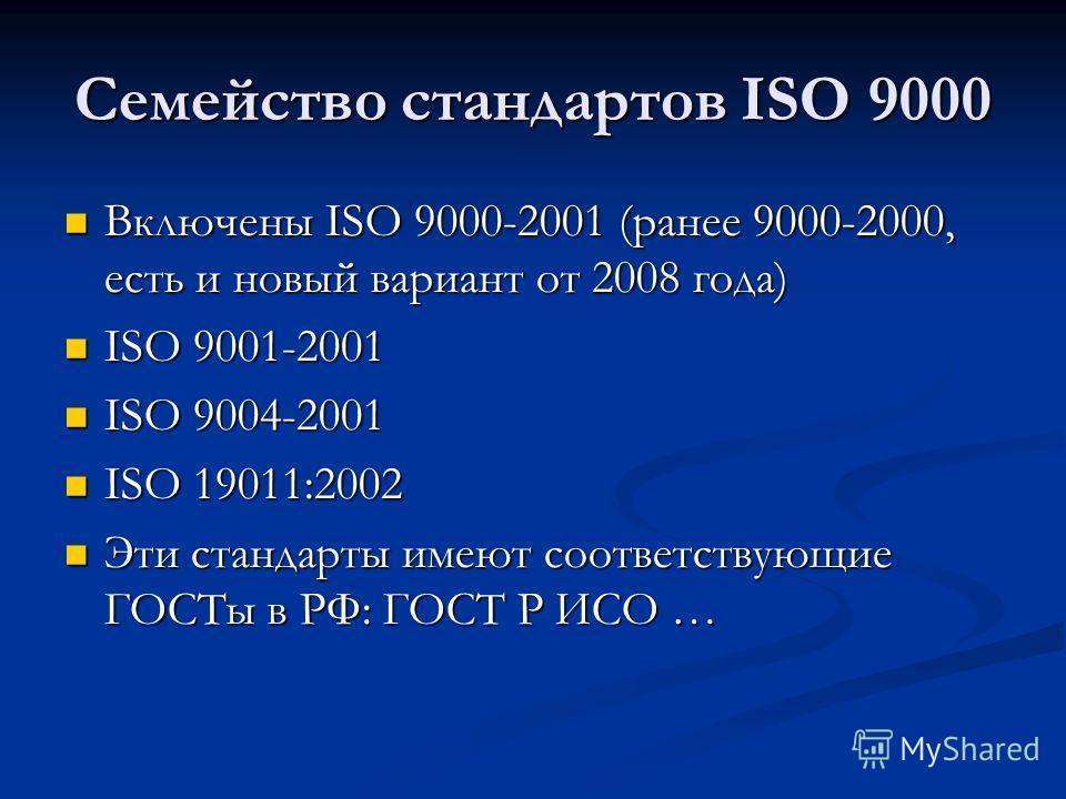 Семейство стандартов ISO 9000 Включены ISO 9000-2001 (ранее 9000-2000, есть и новый вариант от 2008 года) Включены ISO 9000-2001 (ранее 9000-2000, есть и новый вариант от 2008 года) ISO 9001-2001 ISO 9001-2001 ISO 9004-2001 ISO 9004-2001 ISO 19011:20