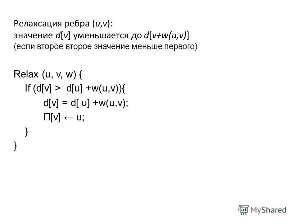 Релаксация ребра (u,v): значение d[v] уменьшается до d[v+w(u,v)] (если второе второе значение меньше первого) Relax (u, v, w) { If (d[v] > d[u] +w(u,v)){ d[v] = d[ u] +w(u,v); Π[v] u; } }