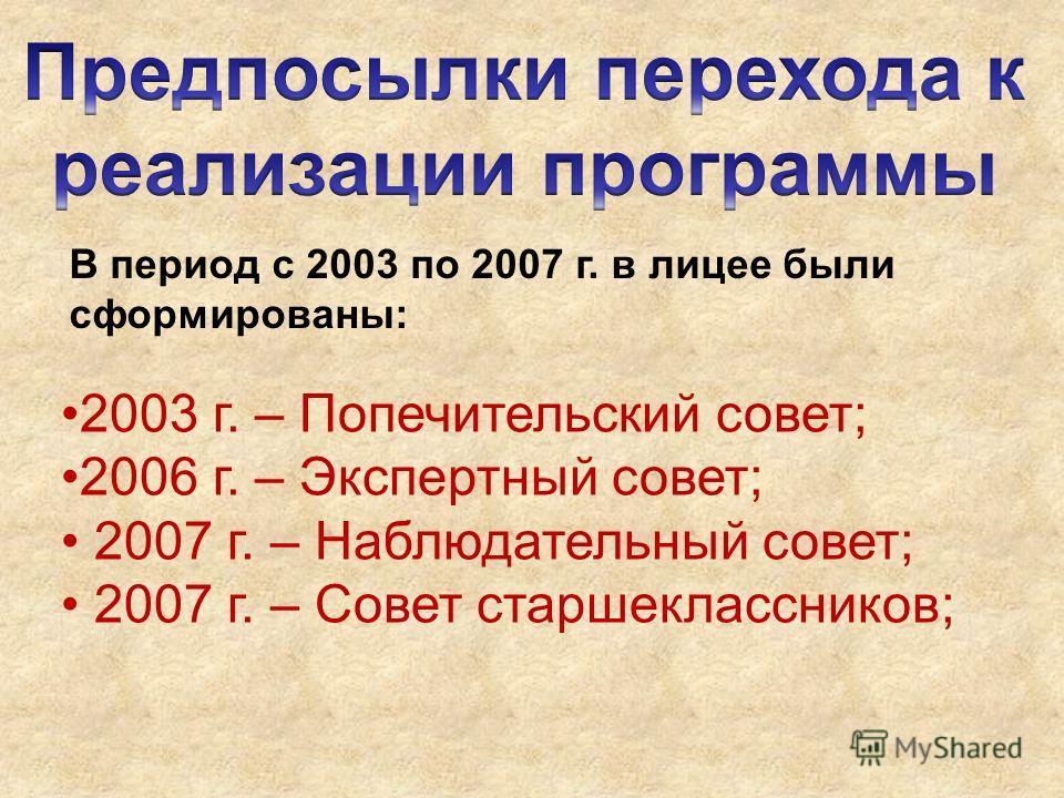 2003 г. – Попечительский совет; 2006 г. – Экспертный совет; 2007 г. – Наблюдательный совет; 2007 г. – Совет старшеклассников; В период с 2003 по 2007 г. в лицее были сформированы: