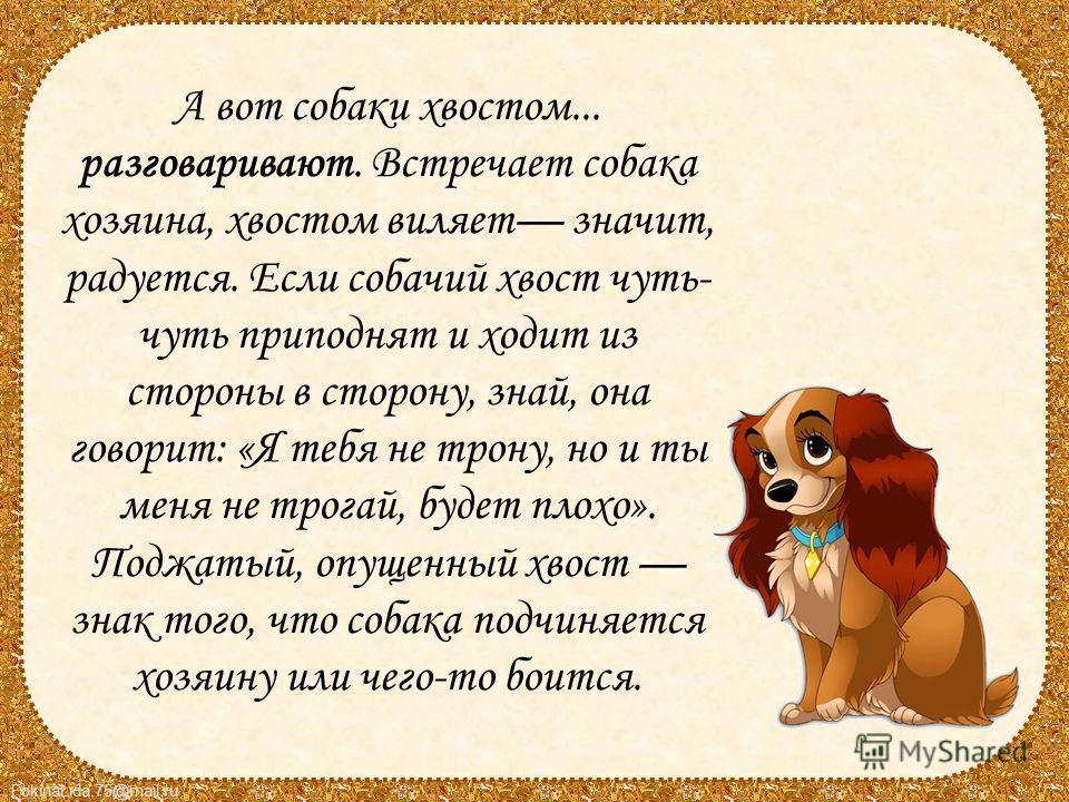 FokinaLida.75@mail.ru А вот собаки хвостом... разговаривают. Встречает собака хозяина, хвостом виляет значит, радуется. Если собачий хвост чуть- чуть приподнят и ходит из стороны в сторону, знай, она говорит: «Я тебя не трону, но и ты меня не трогай,
