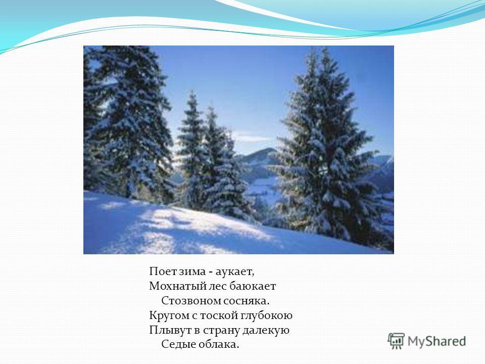 Поет зима - аукает, Мохнатый лес баюкает Стозвоном сосняка. Кругом с тоской глубокою Плывут в страну далекую Седые облака.