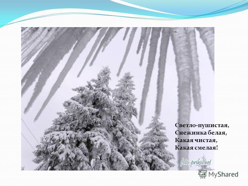 Светло-пушистая, Снежинка белая, Какая чистая, Какая смелая!