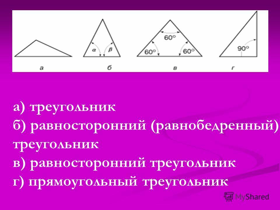 а) треугольник б) равносторонний (равнобедренный) треугольник в) равносторонний треугольник г) прямоугольный треугольник