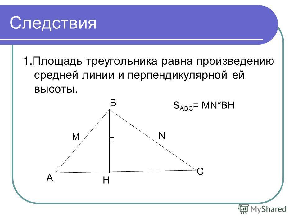 Следствия 1.Площадь треугольника равна произведению средней линии и перпендикулярной ей высоты. А В С Н М N S ABC = MN*BH