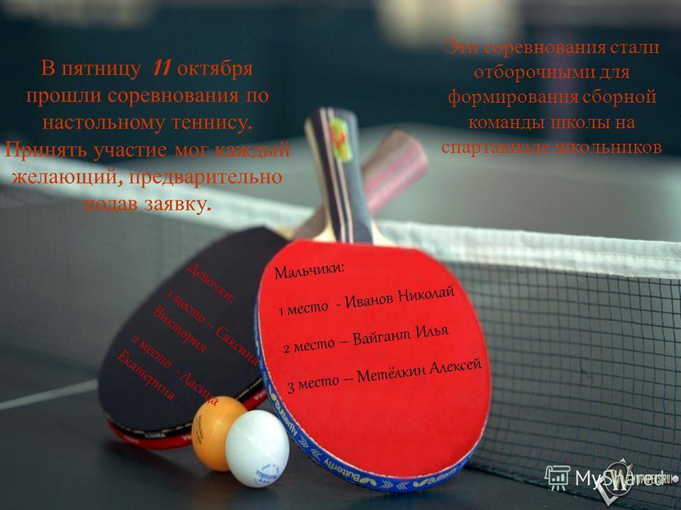 В пятницу 11 октября прошли соревнования по настольному теннису. Принять участие мог каждый желающий, предварительно подав заявку. Эти соревнования стали отборочными для формирования сборной команды школы на спартакиаде школьников Мальчики: 1 место -