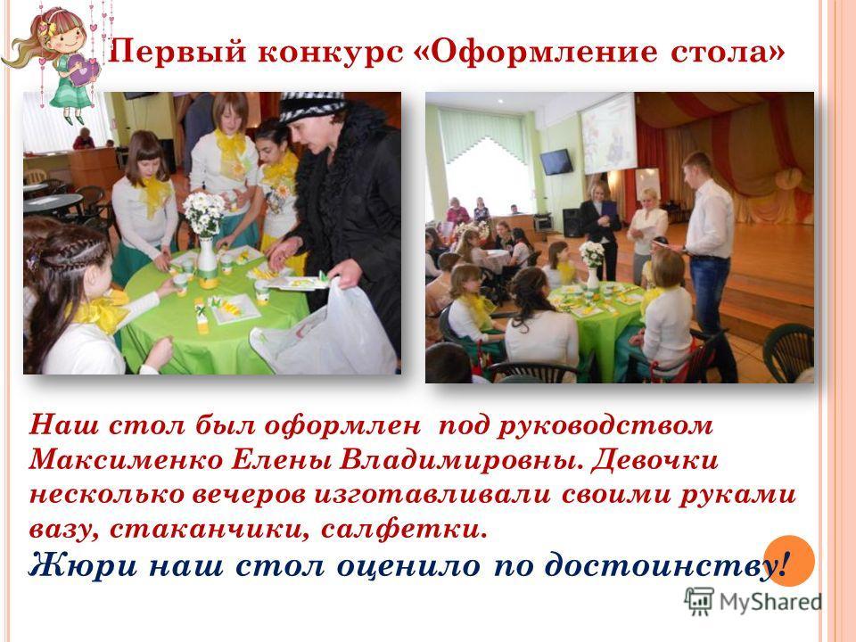 Первый конкурс «Оформление стола» Наш стол был оформлен под руководством Максименко Елены Владимировны. Девочки несколько вечеров изготавливали своими руками вазу, стаканчики, салфетки. Жюри наш стол оценило по достоинству!