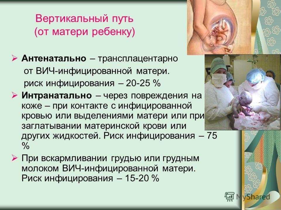 Вертикальный путь (от матери ребенку) Антенатально – трансплацентарно от ВИЧ-инфицированной матери. риск инфицирования – 20-25 % Интранатально – через повреждения на коже – при контакте с инфицированной кровью или выделениями матери или при заглатыва