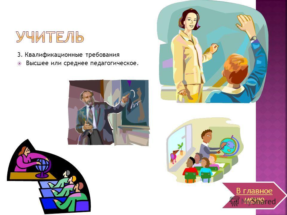 3. Квалификационные требования Высшее или среднее педагогическое. В главное меню