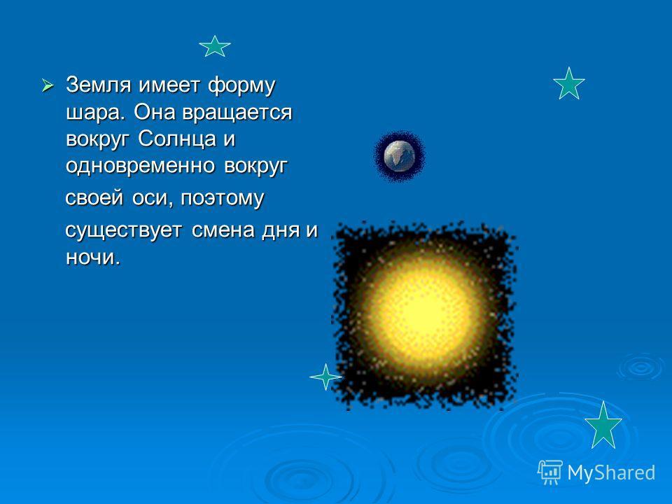Земля имеет форму шара. Она вращается вокруг Солнца и одновременно вокруг Земля имеет форму шара. Она вращается вокруг Солнца и одновременно вокруг своей оси, поэтому своей оси, поэтому существует смена дня и ночи. существует смена дня и ночи.