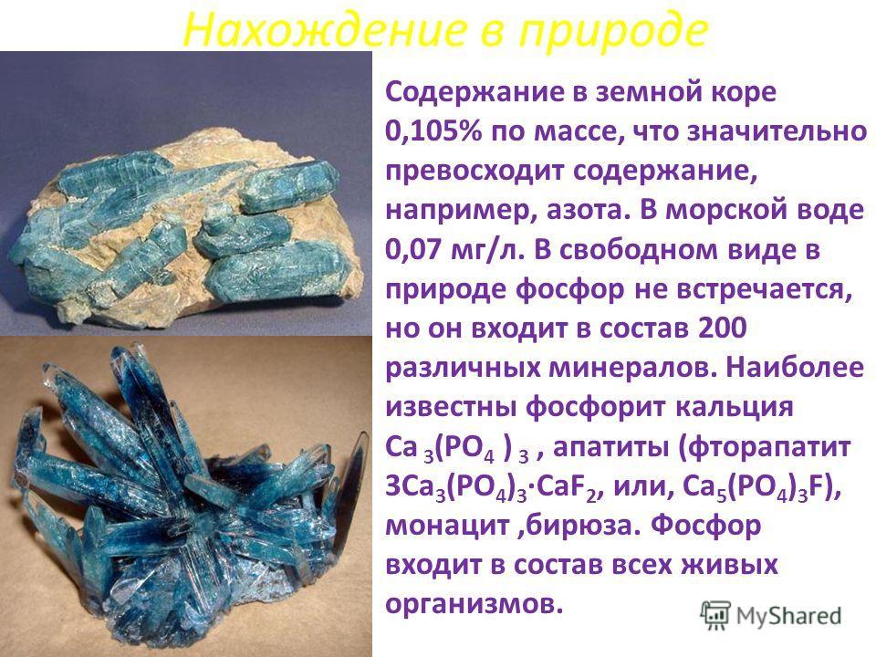 Нахождение в природе Содержание в земной коре 0,105% по массе, что значительно превосходит содержание, например, азота. В морской воде 0,07 мг/л. В свободном виде в природе фосфор не встречается, но он входит в состав 200 различных минералов. Наиболе