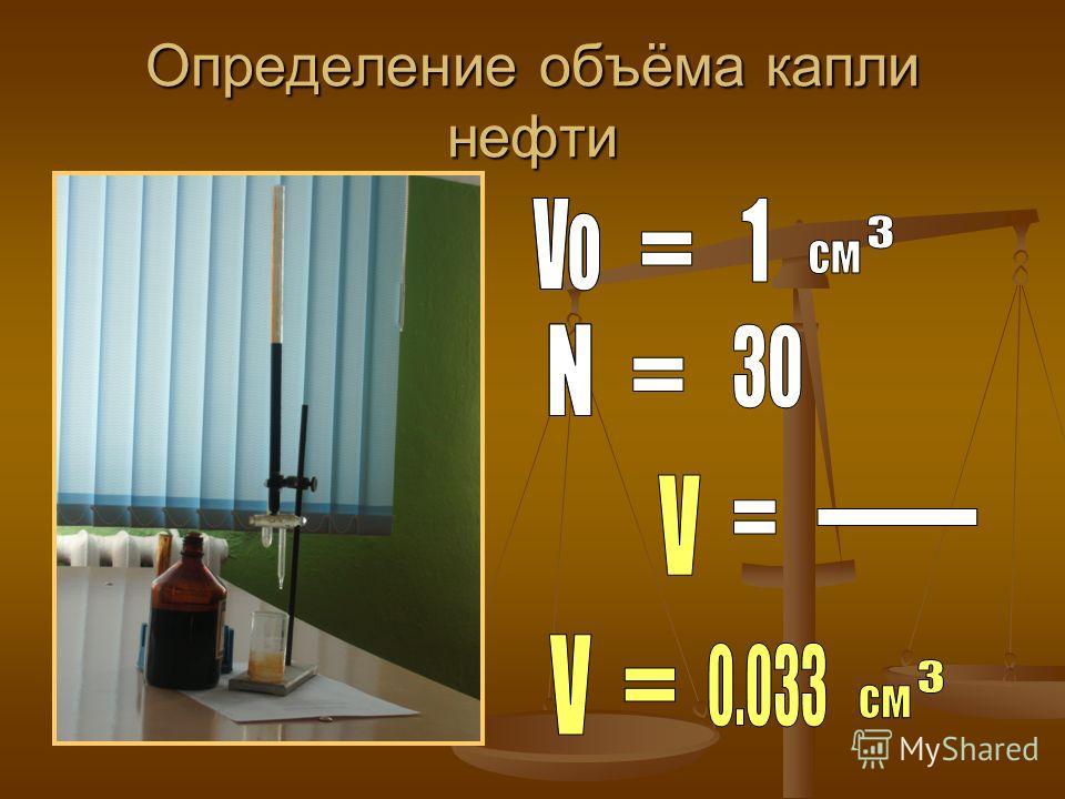 Определение объёма капли нефти