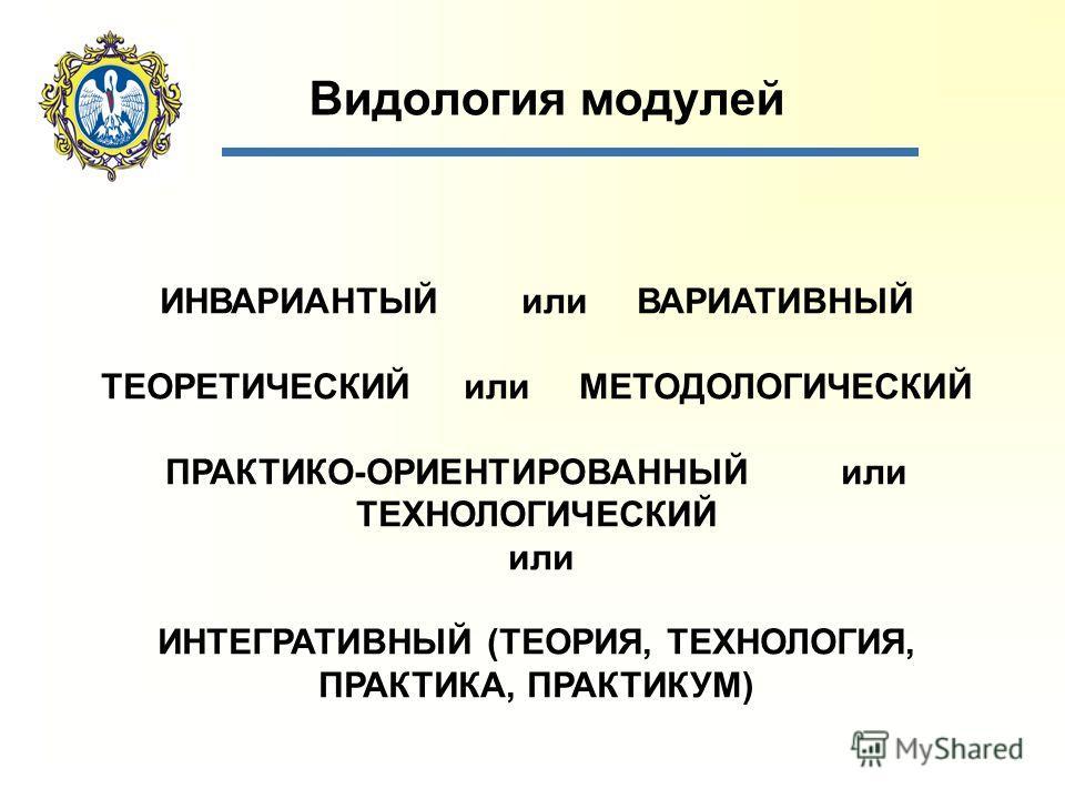 Видология модулей ИНВАРИАНТЫЙ или ВАРИАТИВНЫЙ ТЕОРЕТИЧЕСКИЙ или МЕТОДОЛОГИЧЕСКИЙ ПРАКТИКО-ОРИЕНТИРОВАННЫЙ или ТЕХНОЛОГИЧЕСКИЙ или ИНТЕГРАТИВНЫЙ (ТЕОРИЯ, ТЕХНОЛОГИЯ, ПРАКТИКА, ПРАКТИКУМ)