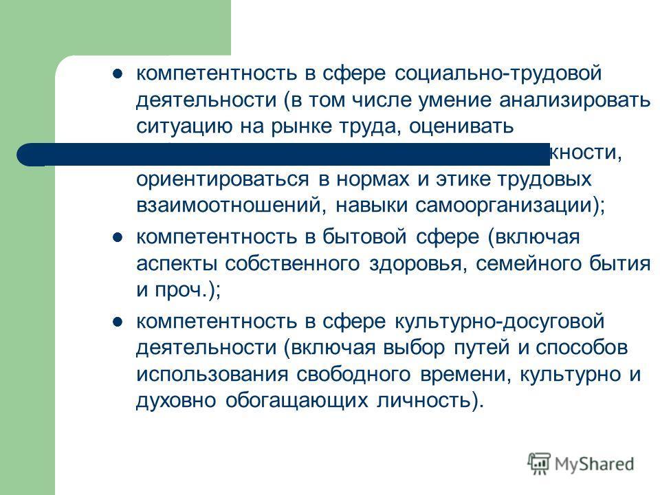 компетентность в сфере социально-трудовой деятельности (в том числе умение анализировать ситуацию на рынке труда, оценивать собственные профессиональные возможности, ориентироваться в нормах и этике трудовых взаимоотношений, навыки самоорганизации);