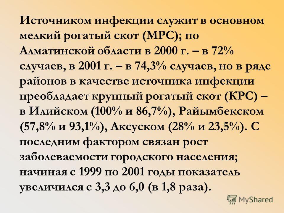 Источником инфекции служит в основном мелкий рогатый скот (МРС); по Алматинской области в 2000 г. – в 72% случаев, в 2001 г. – в 74,3% случаев, но в ряде районов в качестве источника инфекции преобладает крупный рогатый скот (КРС) – в Илийском (100%