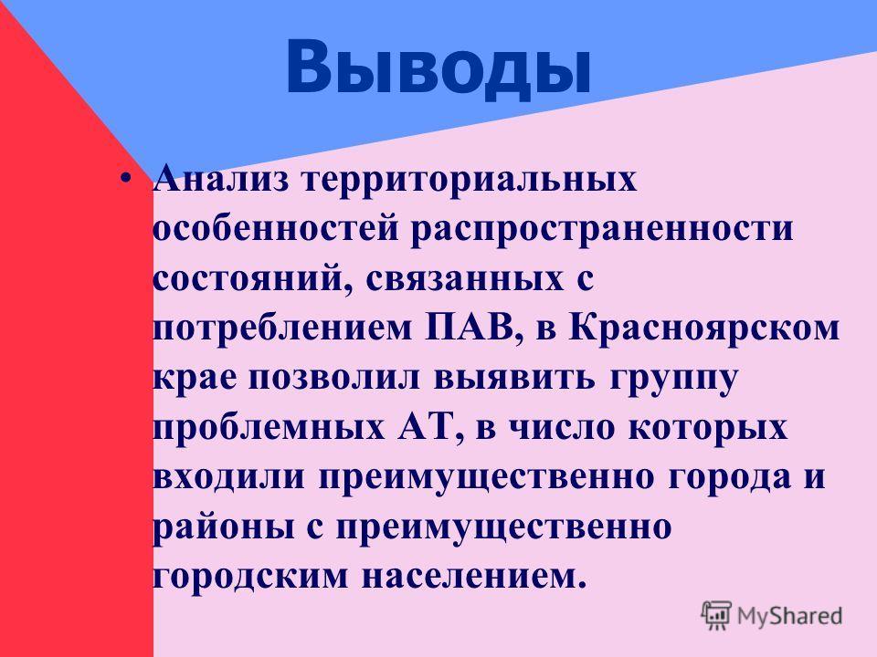 Выводы Анализ территориальных особенностей распространенности состояний, связанных с потреблением ПАВ, в Красноярском крае позволил выявить группу проблемных АТ, в число которых входили преимущественно города и районы с преимущественно городским насе