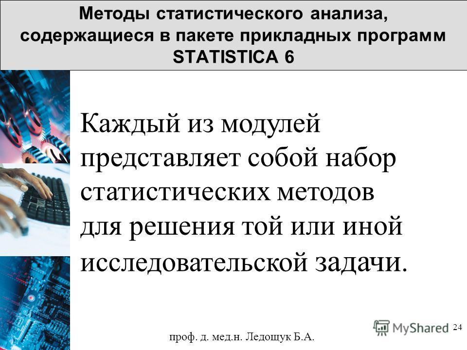 24 Методы статистического анализа, содержащиеся в пакете прикладных программ STATISTICA 6 Каждый из модулей представляет собой набор статистических методов для решения той или иной исследовательской задачи. проф. д. мед.н. Ледощук Б.А.