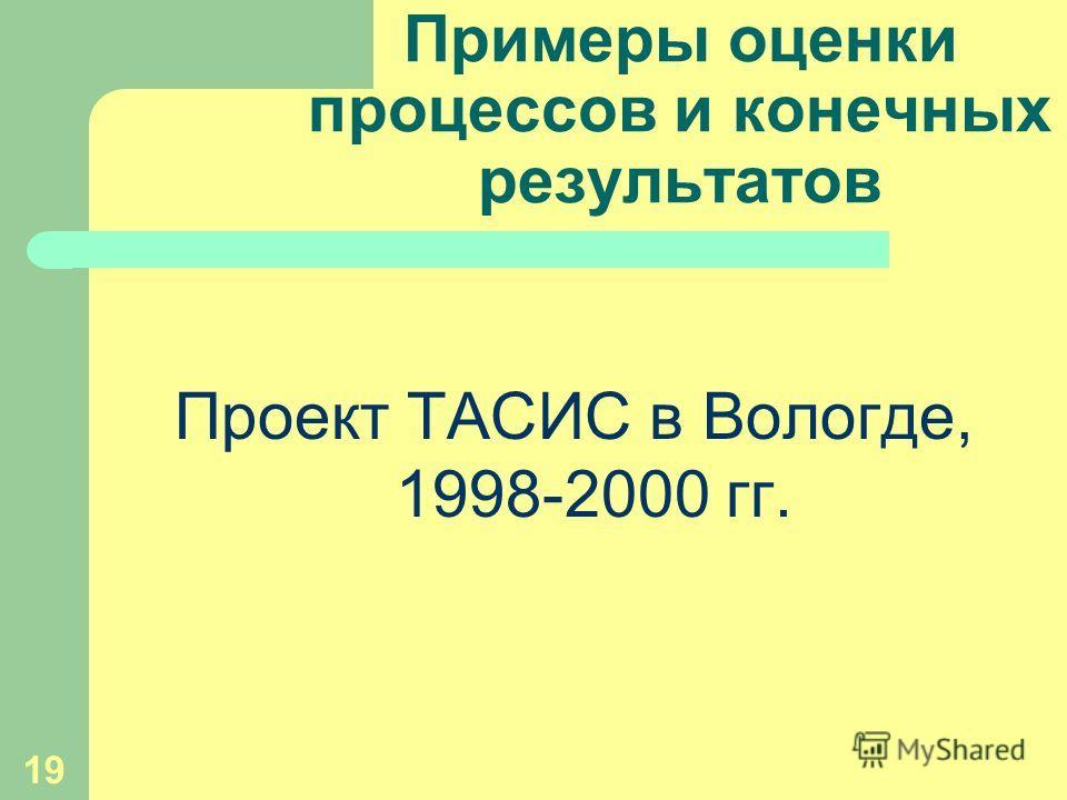 19 Примеры оценки процессов и конечных результатов Проект ТАСИС в Вологде, 1998-2000 гг.