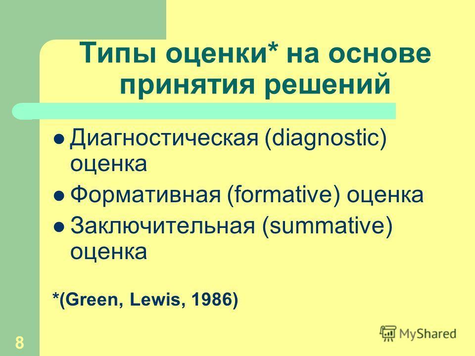 8 Типы оценки* на основе принятия решений Диагностическая (diagnostic) оценка Формативная (formative) оценка Заключительная (summative) оценка *(Green, Lewis, 1986)