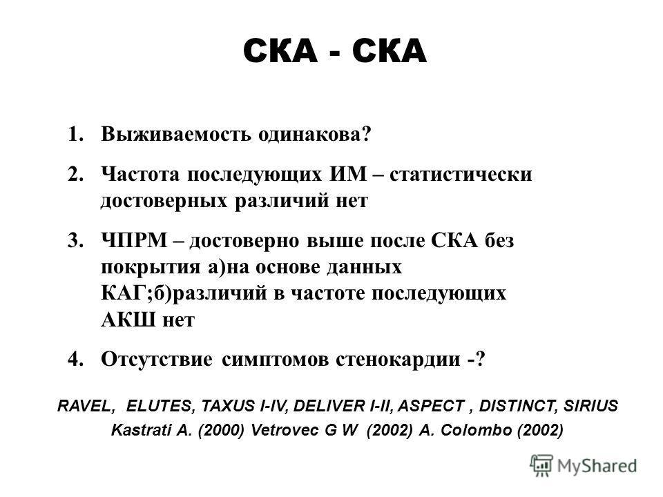 RAVEL, ELUTES, TAXUS I-IV, DELIVER I-II, ASPECT, DISTINCT, SIRIUS Kastrati A. (2000) Vetrovec G W (2002) А. Colombo (2002) СКА - СКА 1.Выживаемость одинакова? 2.Частота последующих ИМ – статистически достоверных различий нет 3.ЧПРМ – достоверно выше