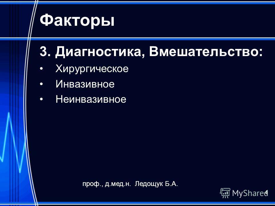 4 Факторы 3.Диагностика, Вмешательство: Хирургическое Инвазивное Неинвазивное проф., д.мед.н. Ледощук Б.А.