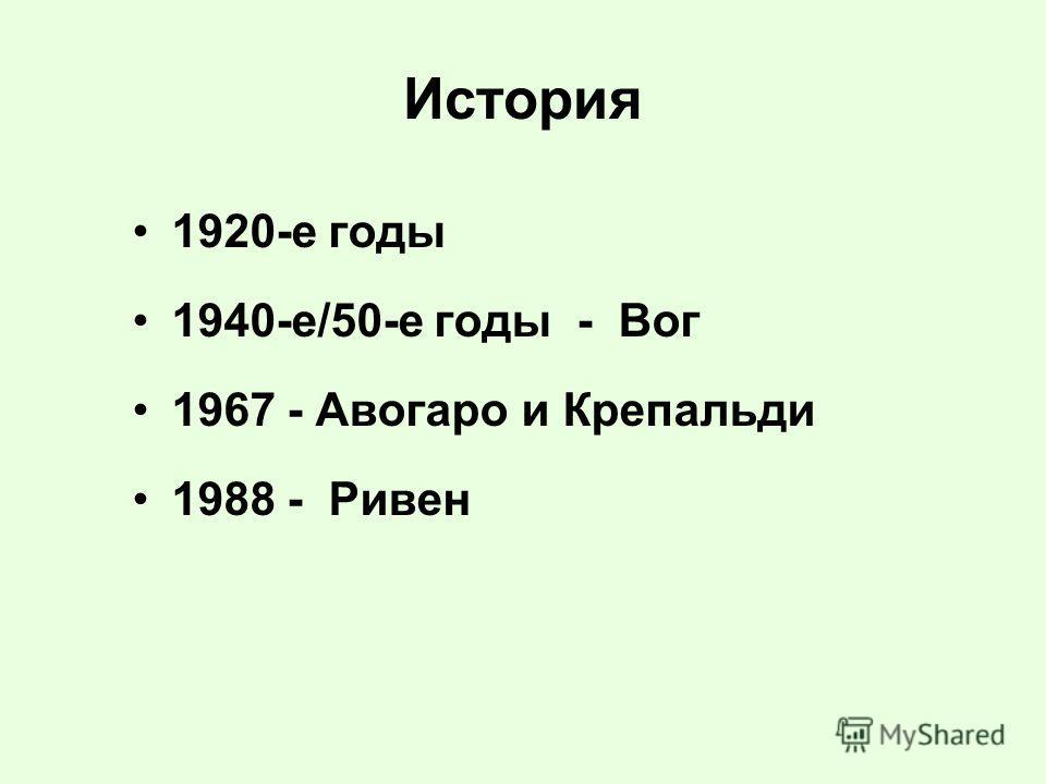 История 1920-е годы 1940-е/50-е годы - Вог 1967 - Авогаро и Крепальди 1988 - Ривен