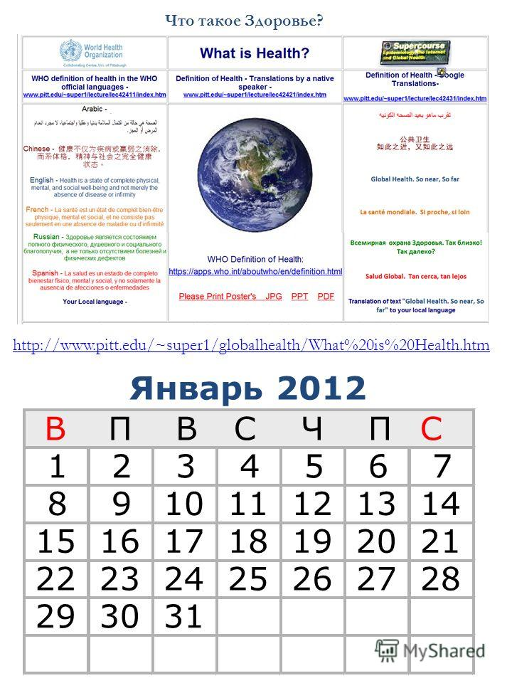 http://www.pitt.edu/~super1/globalhealth/What%20is%20Health.htm ВПВСЧПС 1234567 891011121314 15161718192021 22232425262728 293031 Январь 2012 Что такое Здоровье?
