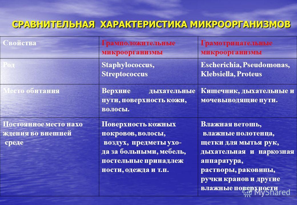 СРАВНИТЕЛЬНАЯ ХАРАКТЕРИСТИКА МИКРООРГАНИЗМОВ СвойстваГрамположительные микроорганизмы Грамотрицательные микроорганизмы РодStaphylococcus, Streptococcus Escherichia, Pseudomonas, Klebsiella, Proteus Место обитанияВерхние дыхательные пути, поверхность